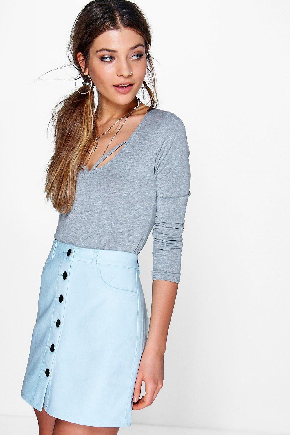 Button Front Suedette Mini Skirt baby blue