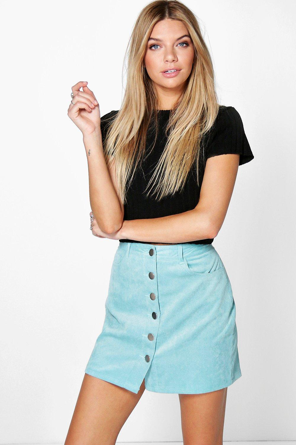 Fallen Button Front Baby Cord Mini Skirt