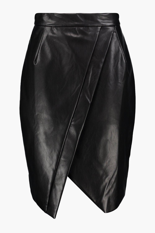 boohoo willow asymetric wrap leather look midi skirt ebay