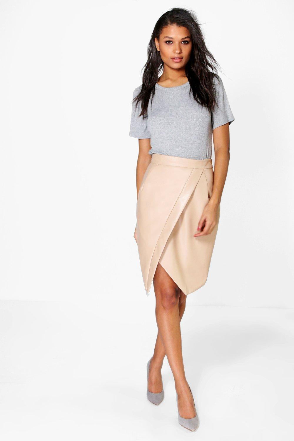 Willow Asymetric Wrap Leather Look Midi Skirt