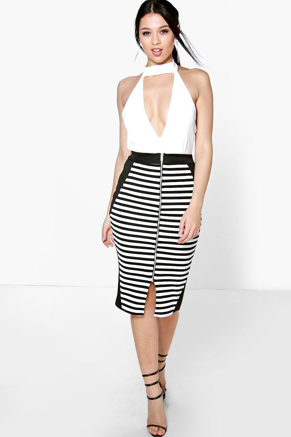 Zip Front Contrast Panel Long Line Midi Skirt - multi
