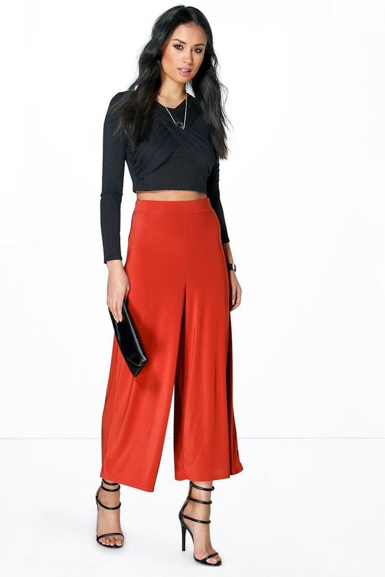 Allera Cropped Wide Leg Slinky Trousers