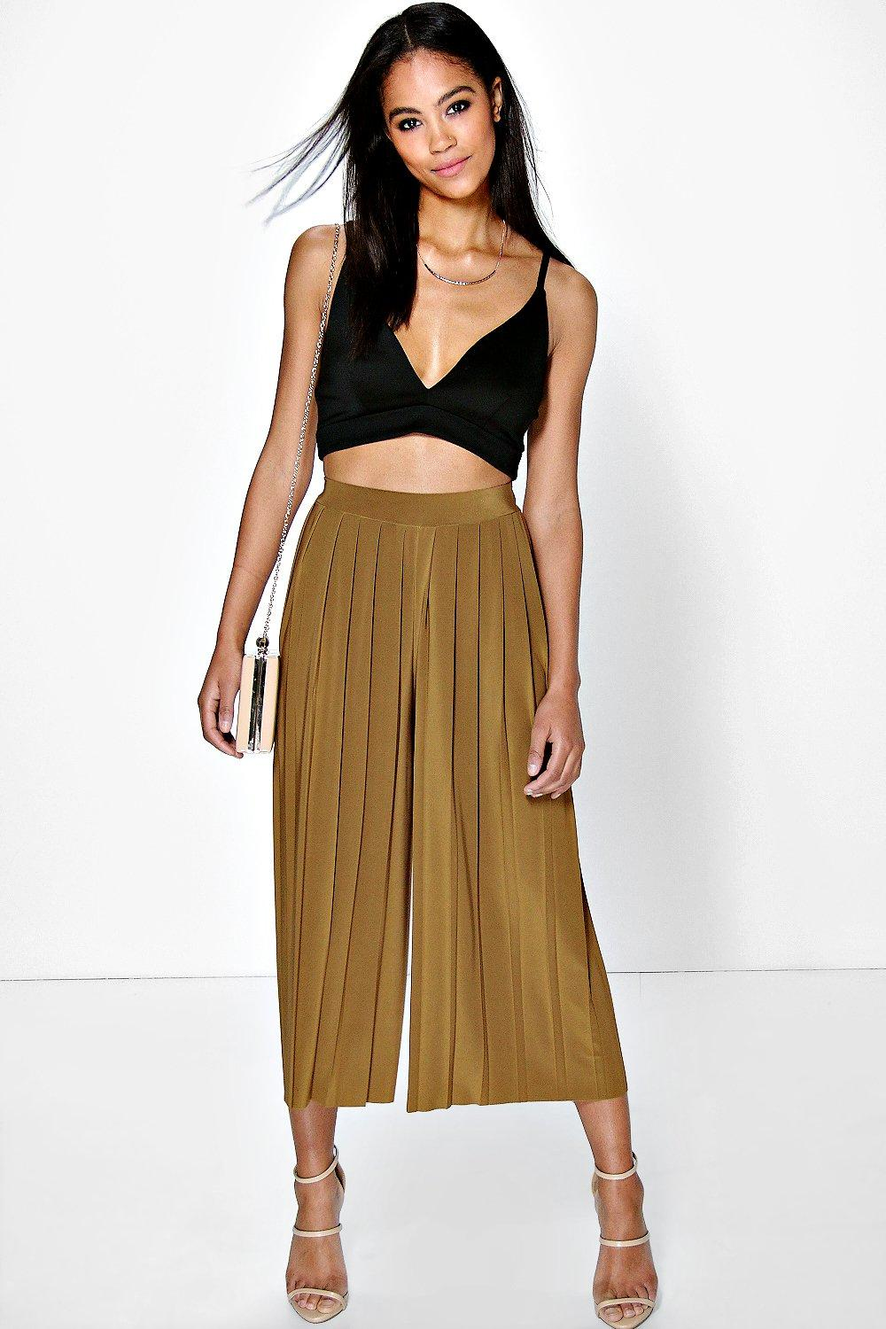 Saskia Pleated Wide Leg Cropped Trousers
