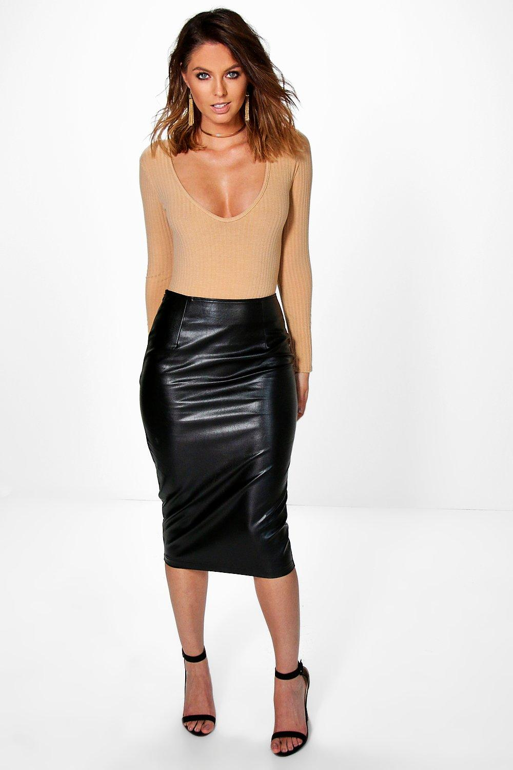 Amaya Soft Leather Look Midi Skirt | Boohoo