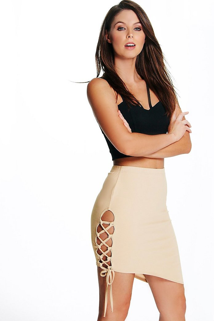 Beau Lace Up Side Asymetric Mini Skirt