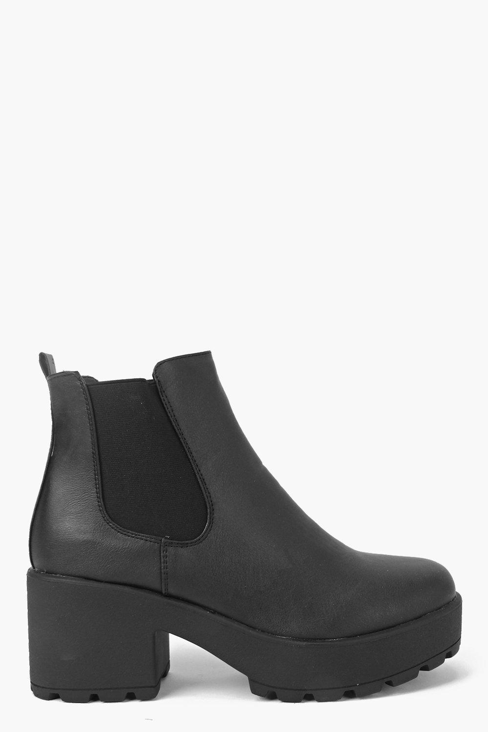 Leah Black Heel Cleated Chelsea Boot