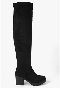 Ava Block Heel Over The Knee Boot