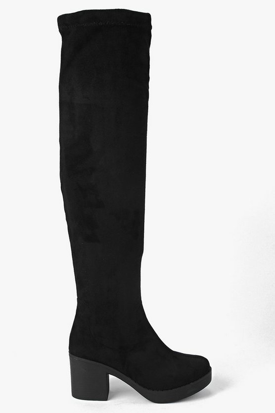 Ava Block Heel Over The Knee Boots