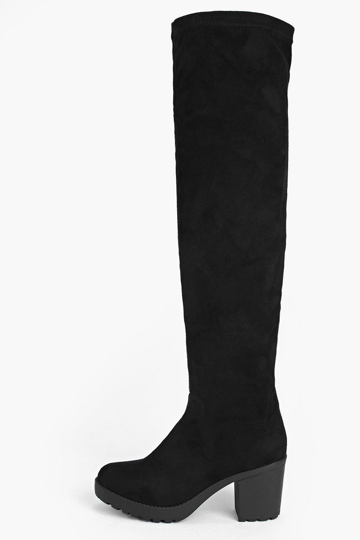 Martha Block Heel Over The Knee Boot | Boohoo