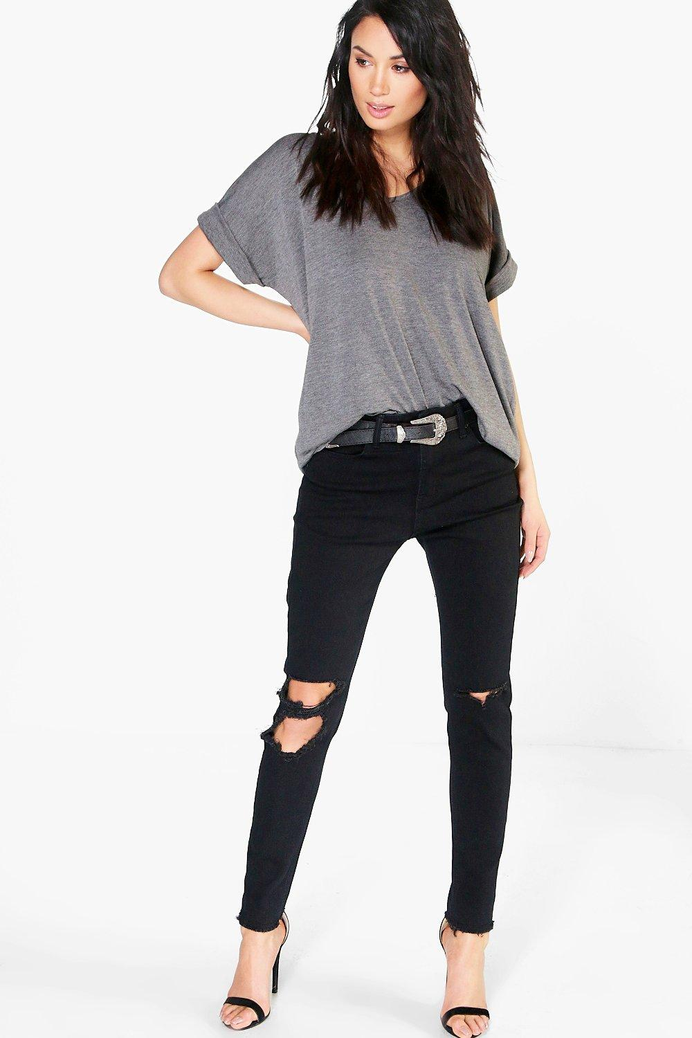 Charlie High Waisted Clean Split Knee Skinny Jeans