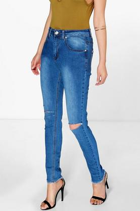 Lucy High Waisted Shredded Knee Skinny Jeans