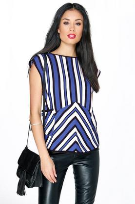 Rose Striped 2 Pocket S/Less Top