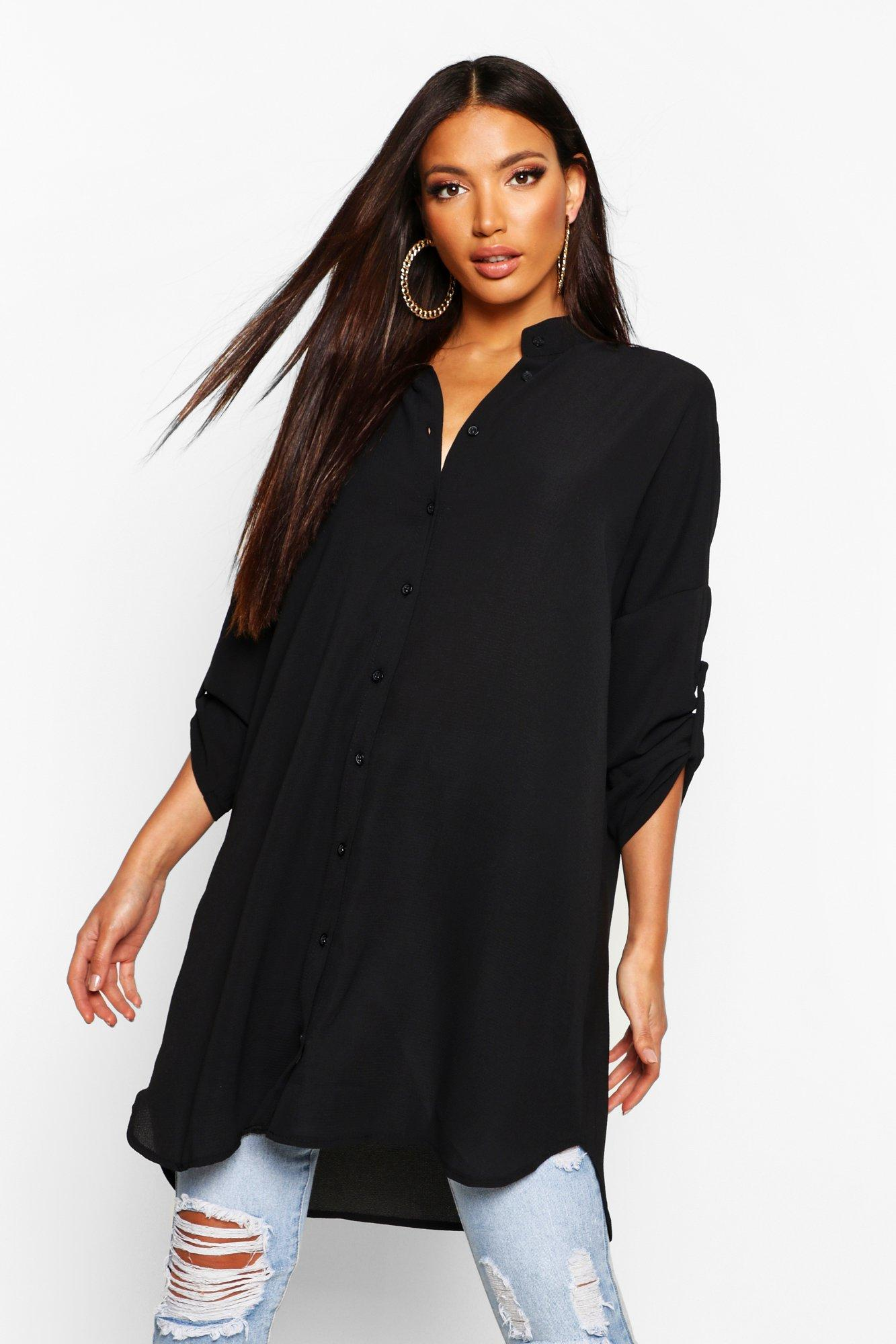 Longline Oversized Sleeve Shirt  black