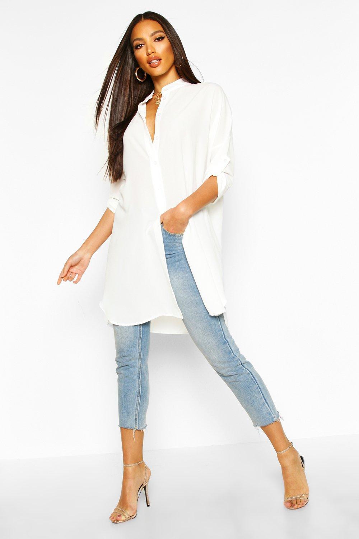 Womens Langer geschnittenes, übergroßes Hemd mit Trompetenärmeln - ecru - L, Ecru - Boohoo.com