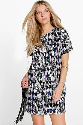 Dorianne Geo Print Shift Dress