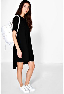 Alessandra Button Collar Swing Dress