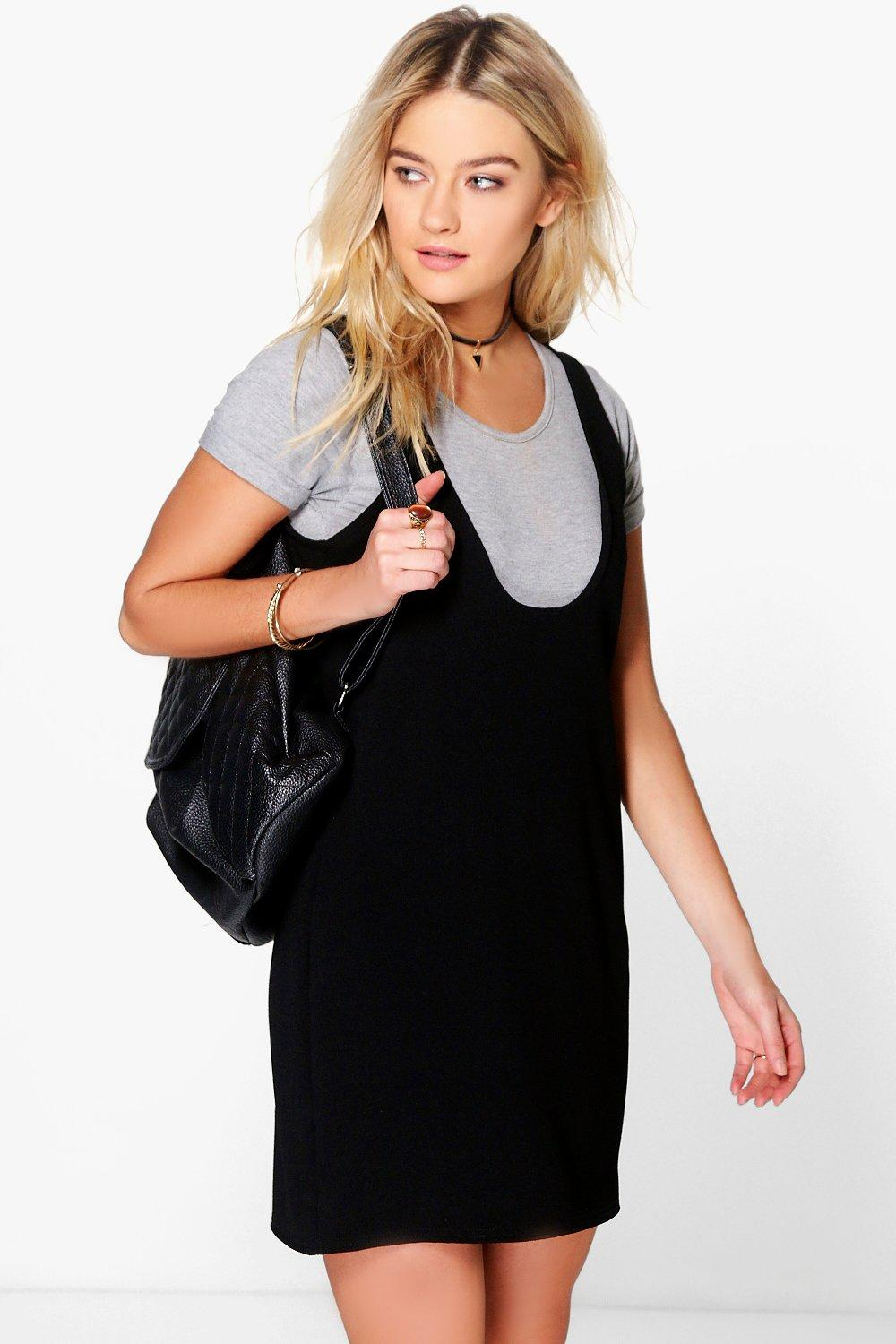 Alix Scoop Neck Pinafore Shift Dress