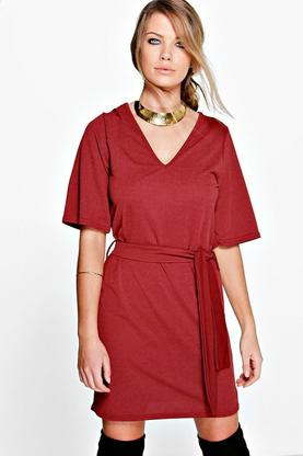 Caoibhe Kimono Sleeve Obi Belt Shift Dress