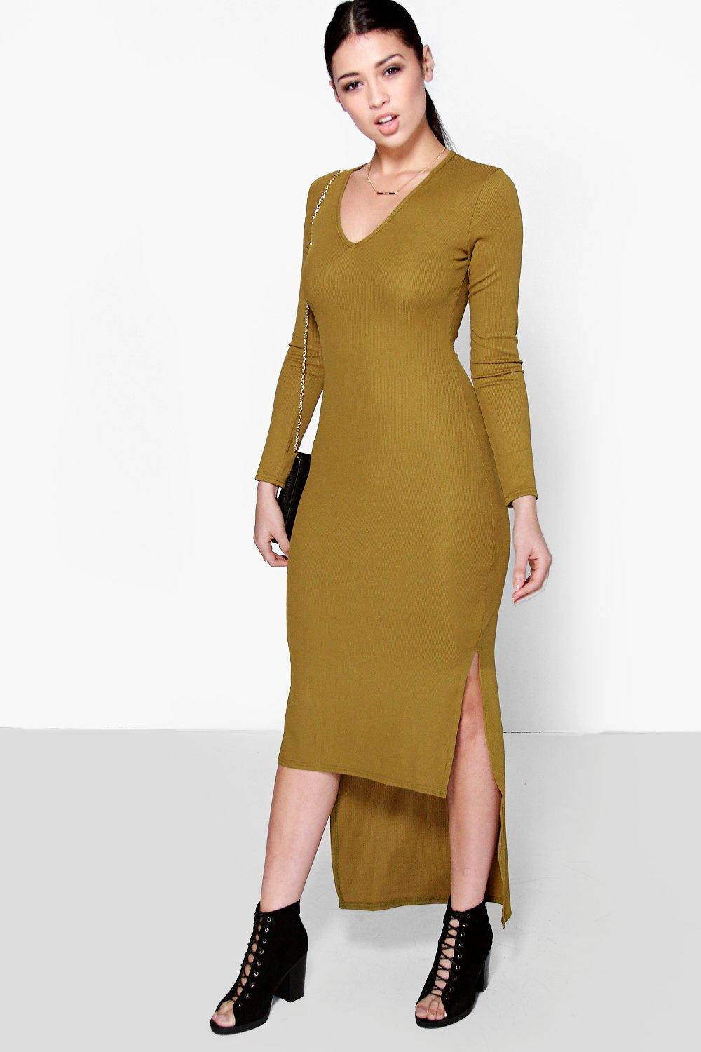 Ella V Neck Rib Dipped Hem Midi Dress
