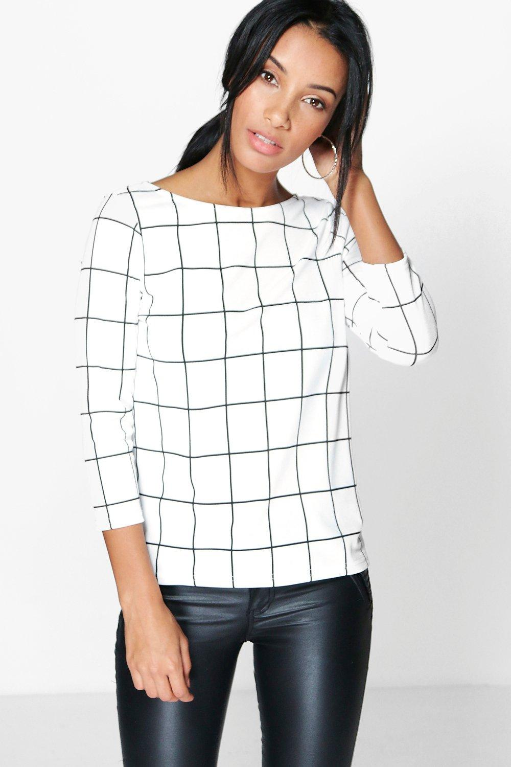 Sofia Grid Check Cut Out Back Tee