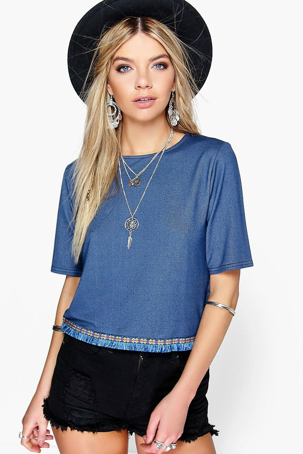 Tanya Denim Look Tapestry Trim Crop