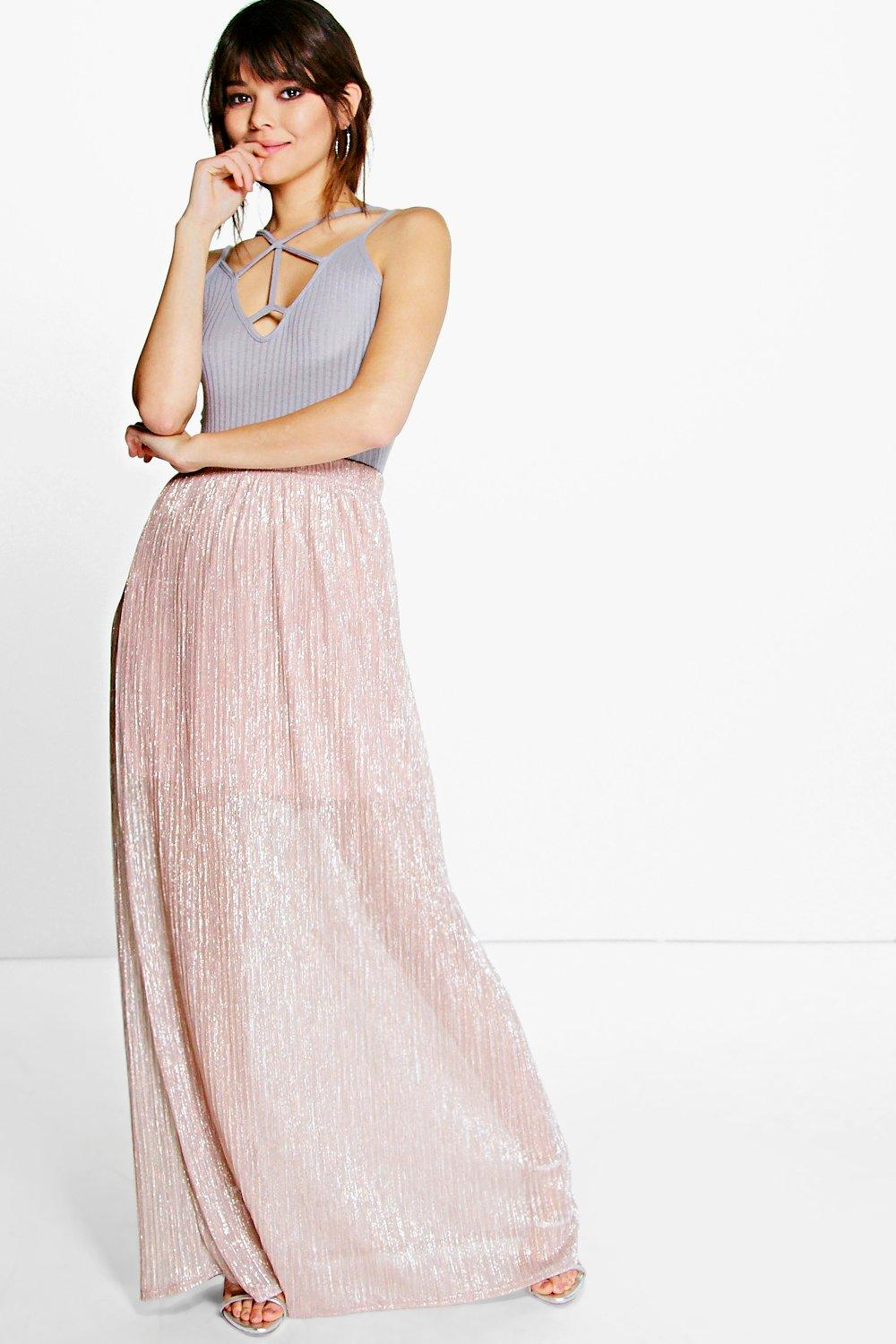 Boutique Behati Floor Sweeping Metallic Maxi Skirt