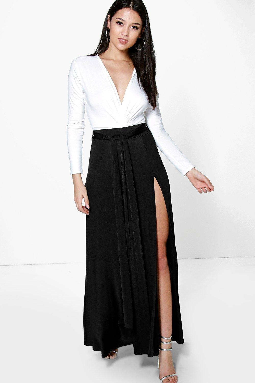Obi Tie Split Front Full Maxi Skirt black