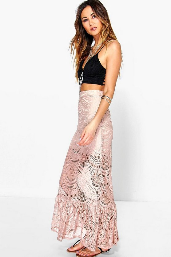Boutique Savannah Crochet Lace Maxi Skirt