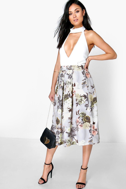 Pastel Floral Print Full Midi Skirt multi