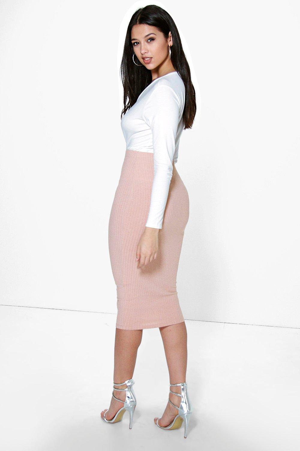 Hayley Soft Knit Midi Skirt | Boohoo