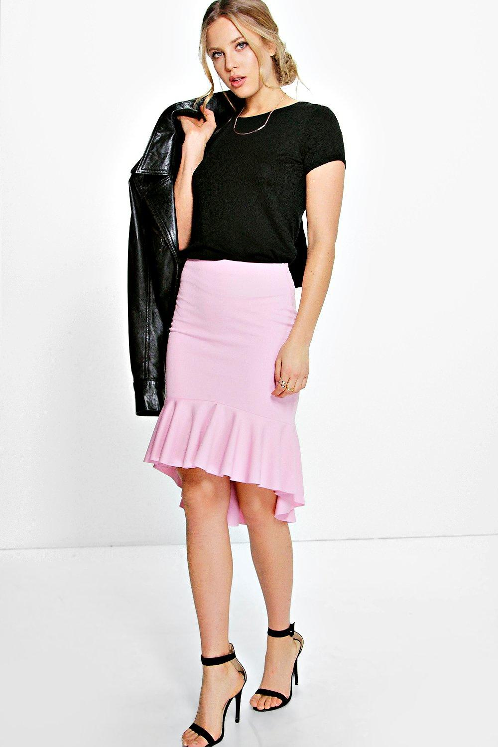 Gianna Drop Peplum Hem Midi Skirt