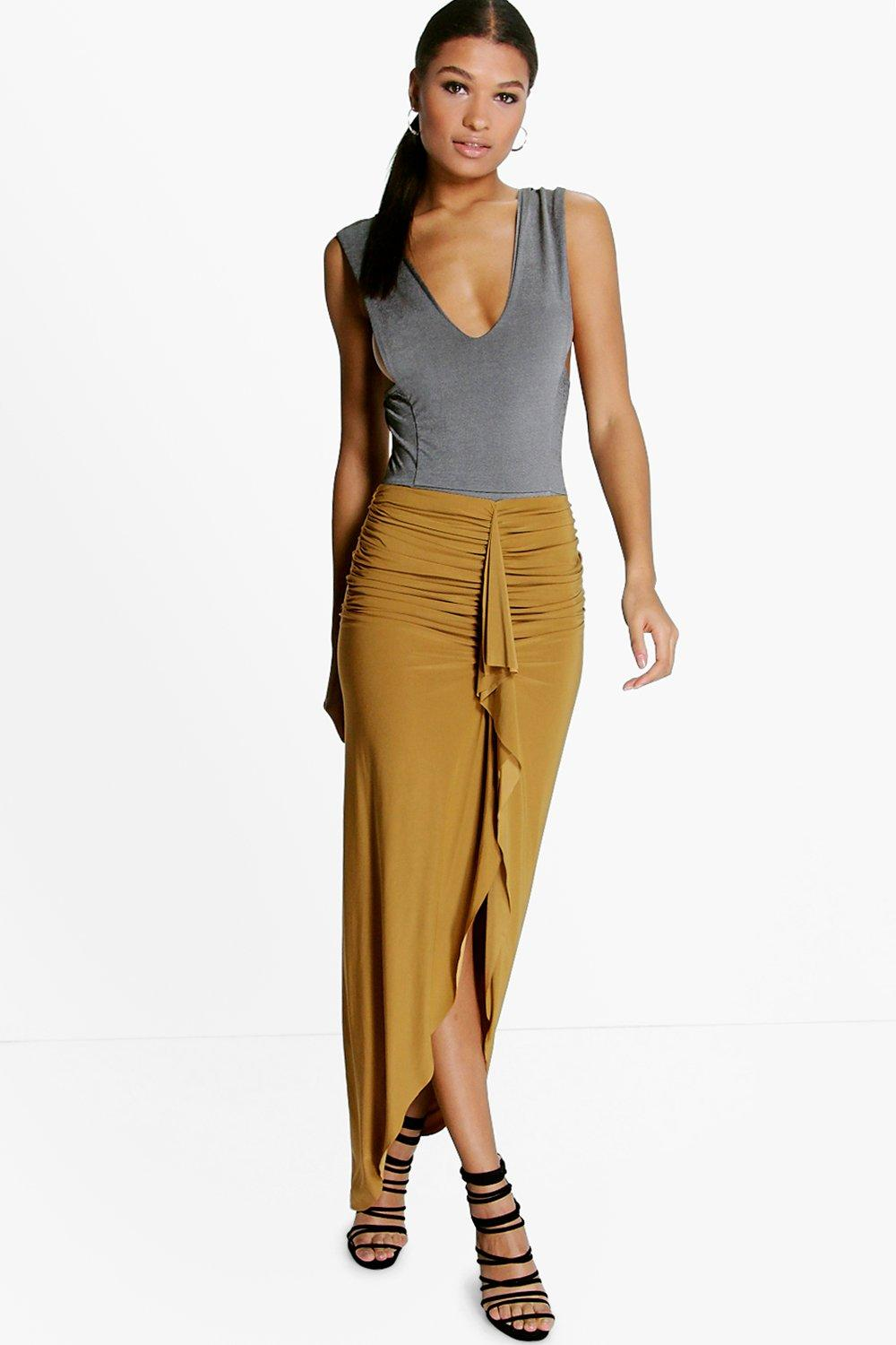 Maddison Rouched Front Split Slinky Maxi Skirt