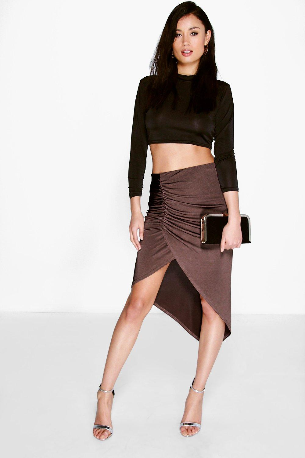 Mia Asymetric Rouched Front Midi Skirt