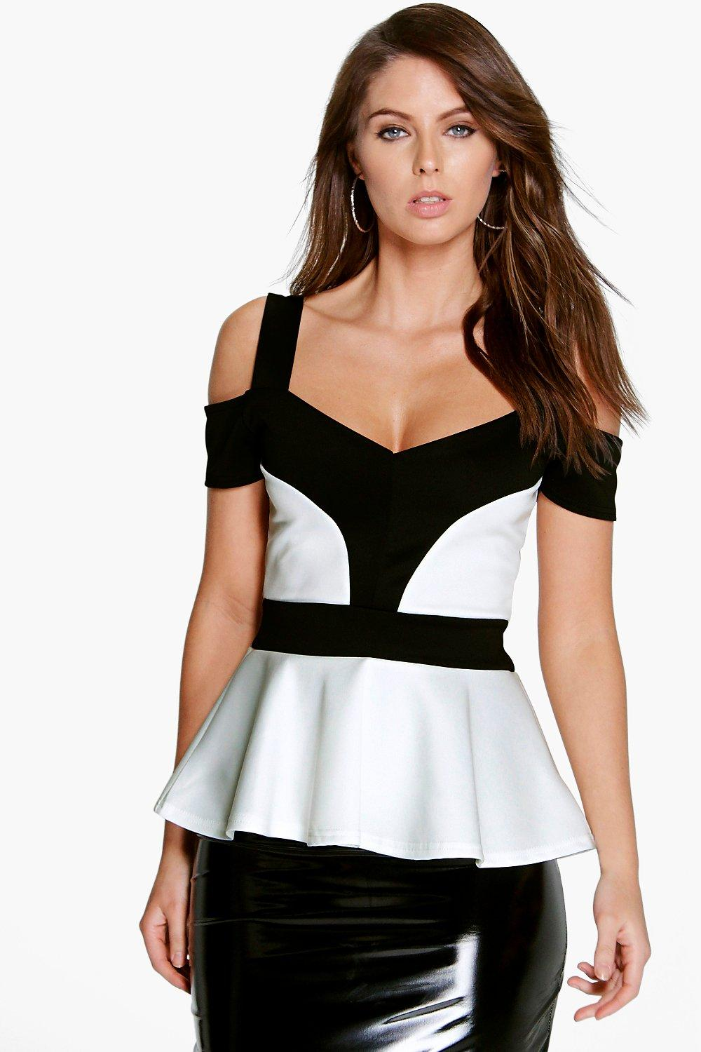 Hollie Cut Out Mono Contrast Scuba Peplum