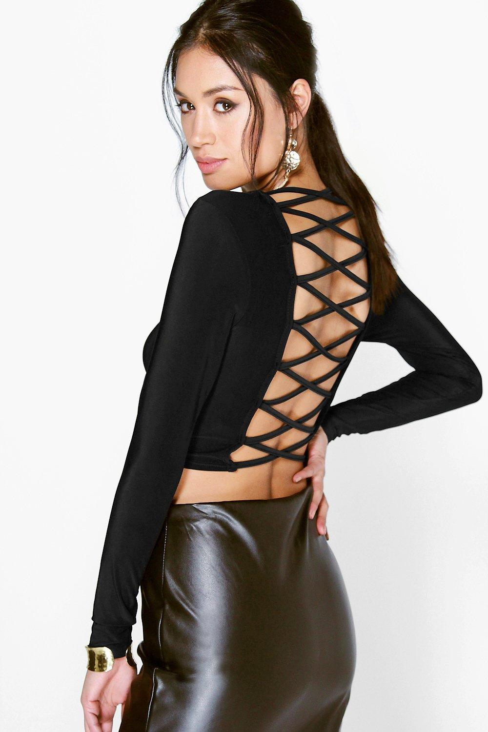 Anna Lace Up Back Slinky Crop Top