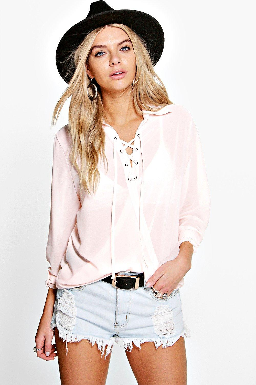 Rosie Lace Up Wrap Over Chiffon Blouse