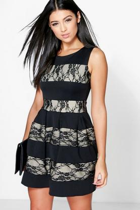 Madeleine Contrast Lace Skater Dress