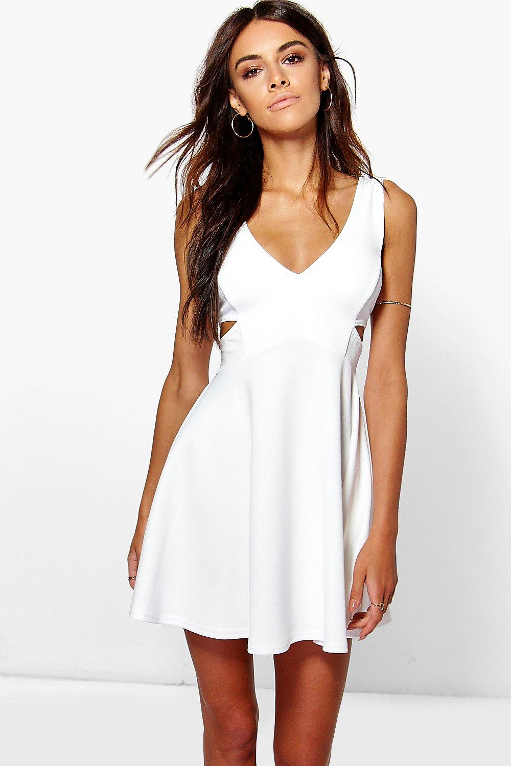 Maddie Cut Out Plunge Skater Dress
