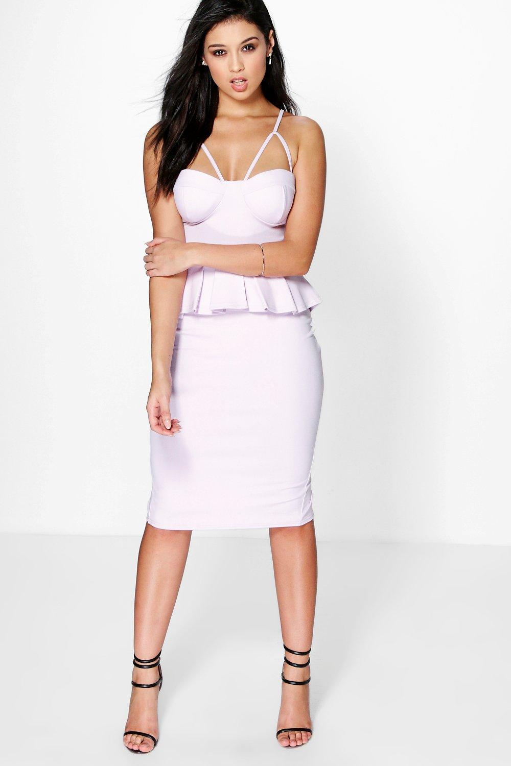 Gwyneth Strappy Bodice Peplum Dress