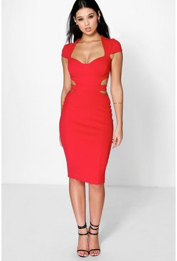 Pandi Sweetheart Bodice Cut Out Midi Dress