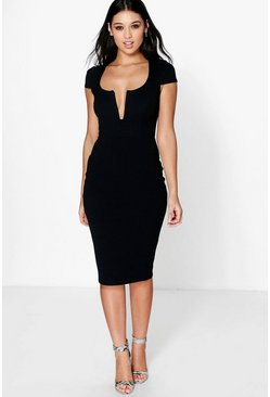 Janet Formal Plunge Cap Sleeve Midi Dress