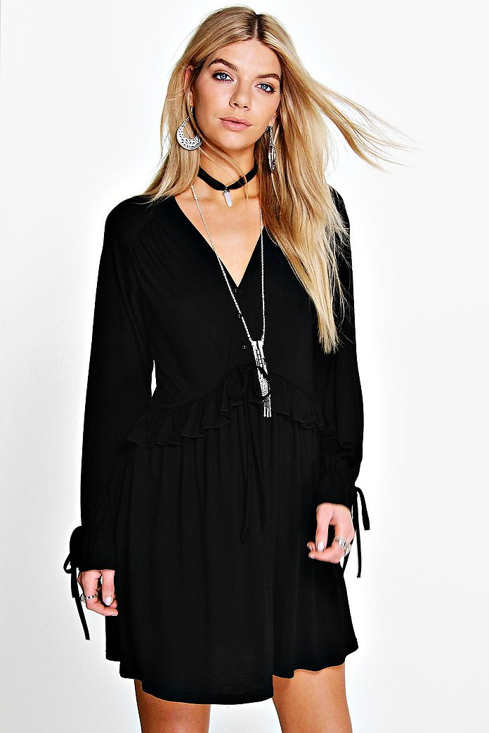 Hayley Ruffle Button Detail Skater Dress