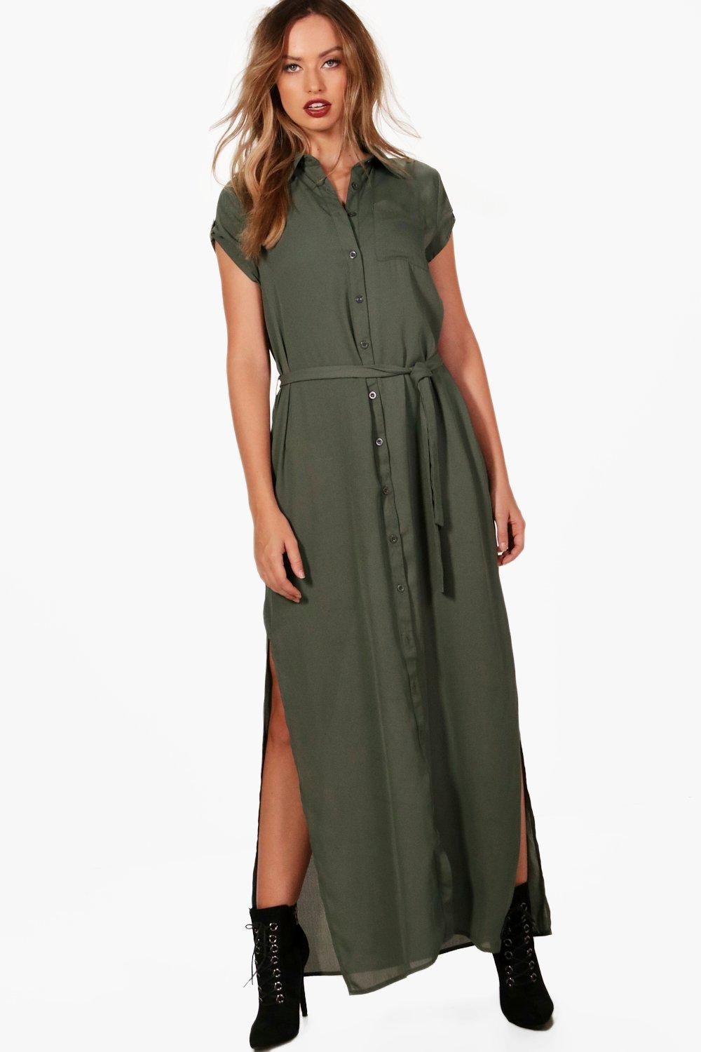 Maxi Shirt Dress  khaki