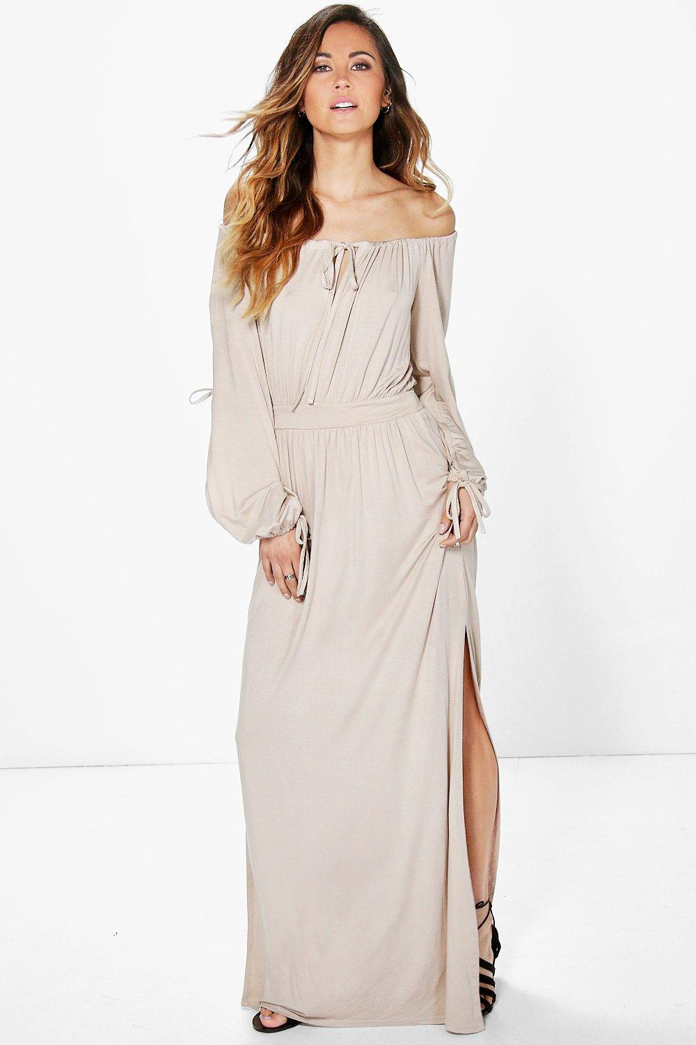 Dana Off The Shoulder Sleeve Split Maxi Dress