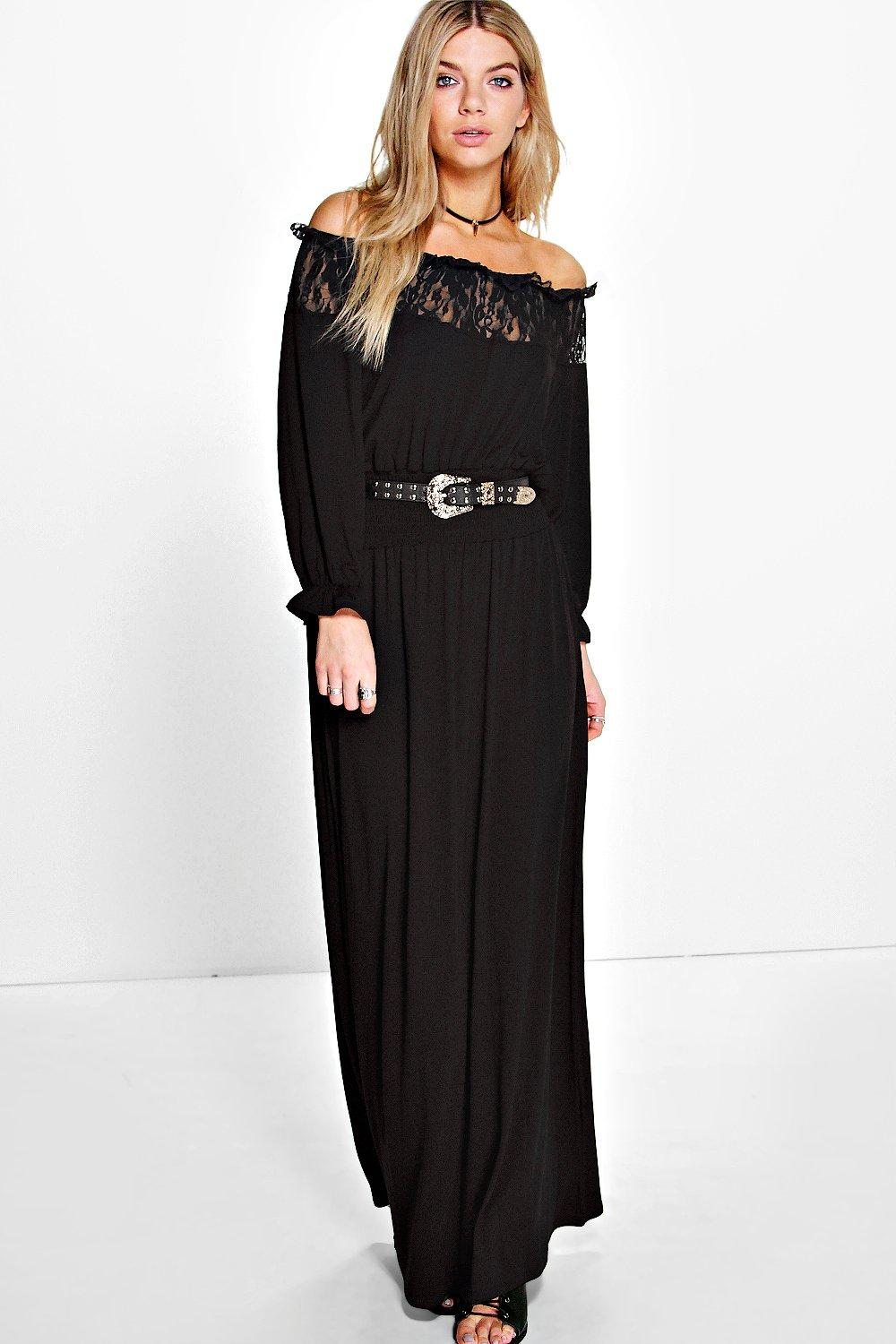 Lola Lace Panelled Off The Shoulder Maxi Dress