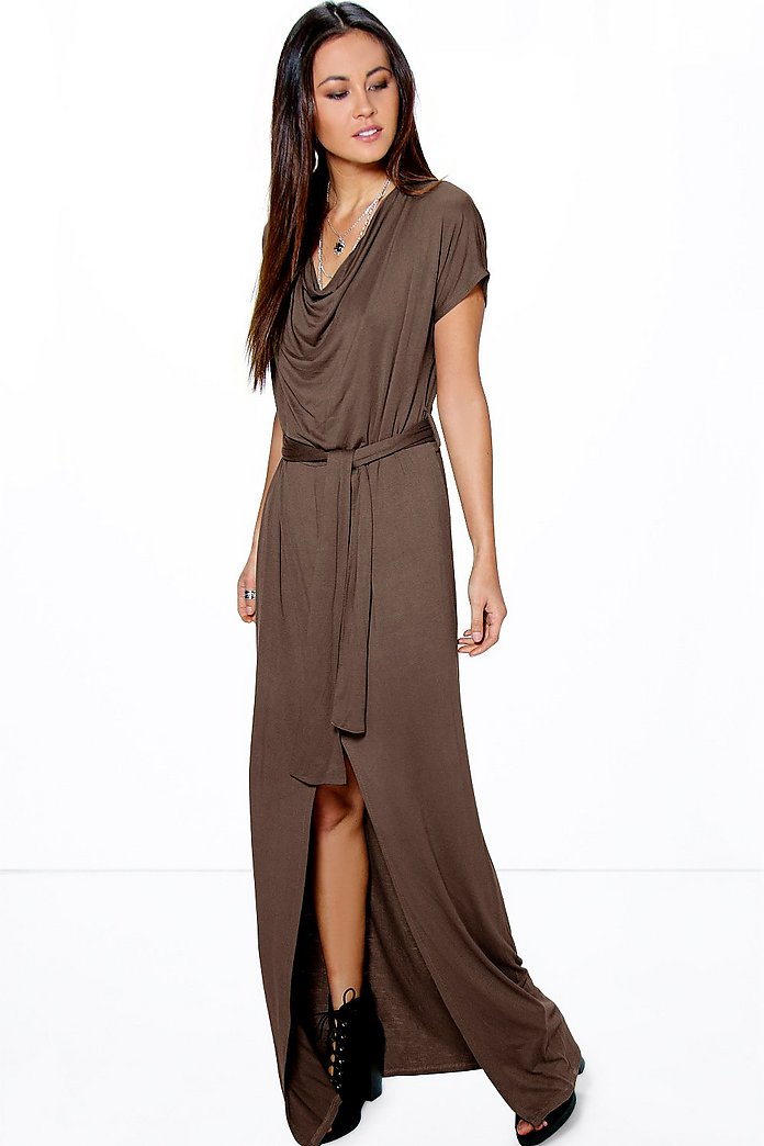 Ava Cowl Neck Tie Waist Maxi Dress
