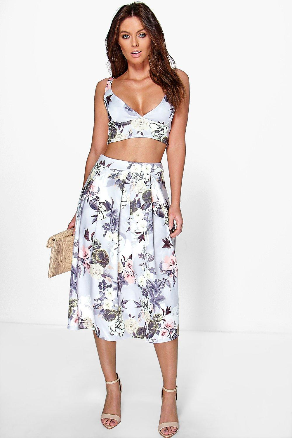 Vaida Floral Full Midi Skirt & Bralet Co-Ord Set | Boohoo