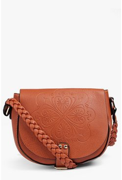 Violet Embossed Saddle Bag