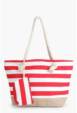 Anna Striped Rope Handle Beach Bag