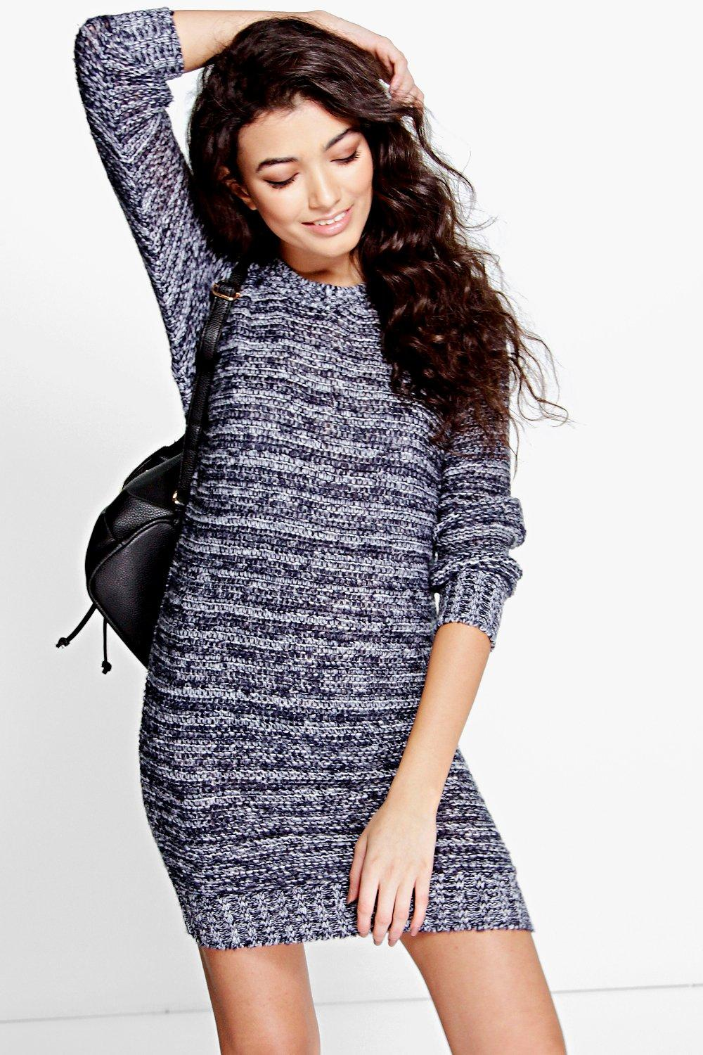Amy Loose Stitch Soft Knit Marl Jumper Dress